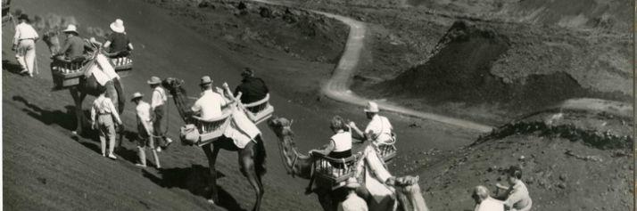 Isole Canarie, 1969, turisti in escursione su dromedari importati ad hoc per le gite