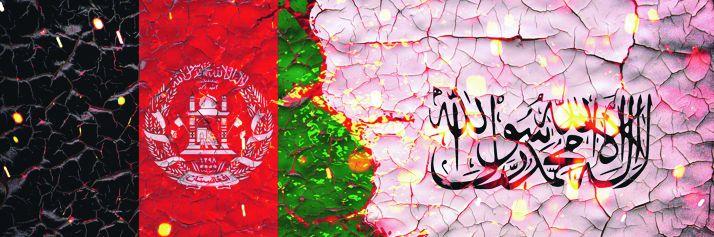La bandiera dell'Afghanistan e quella dei Telebani
