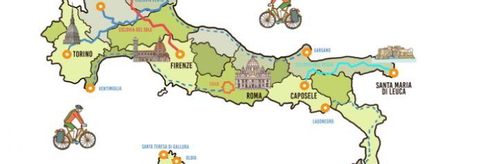 Mappa della Ciclovie in Italia